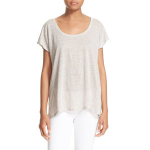 Joie Akela Stripe Linen Tee Shirt in Gray